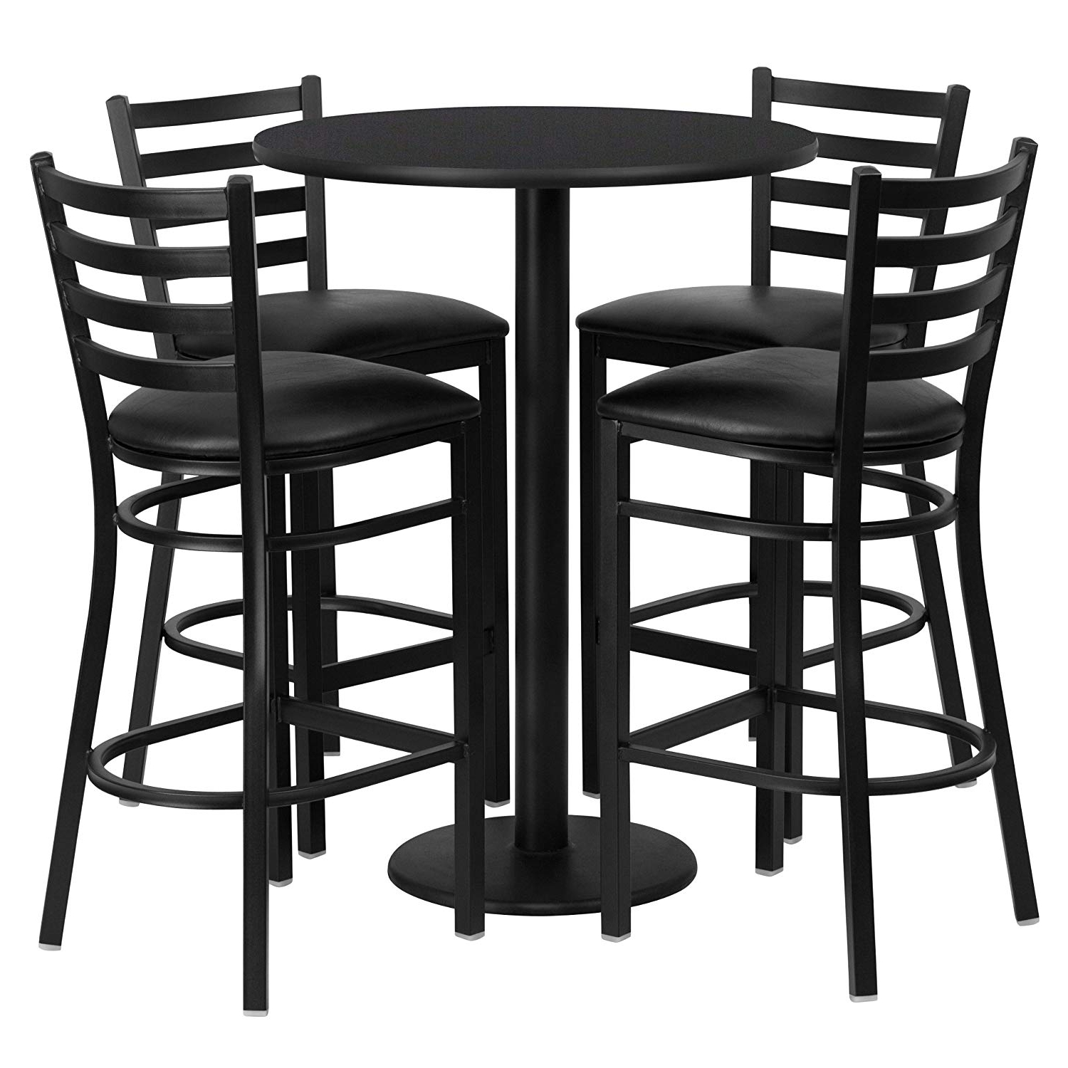 Most Recently Released Dining Tables With Attached Stools Regarding Amazon – Flash Furniture 30'' Round Black Laminate Table Set (View 10 of 25)