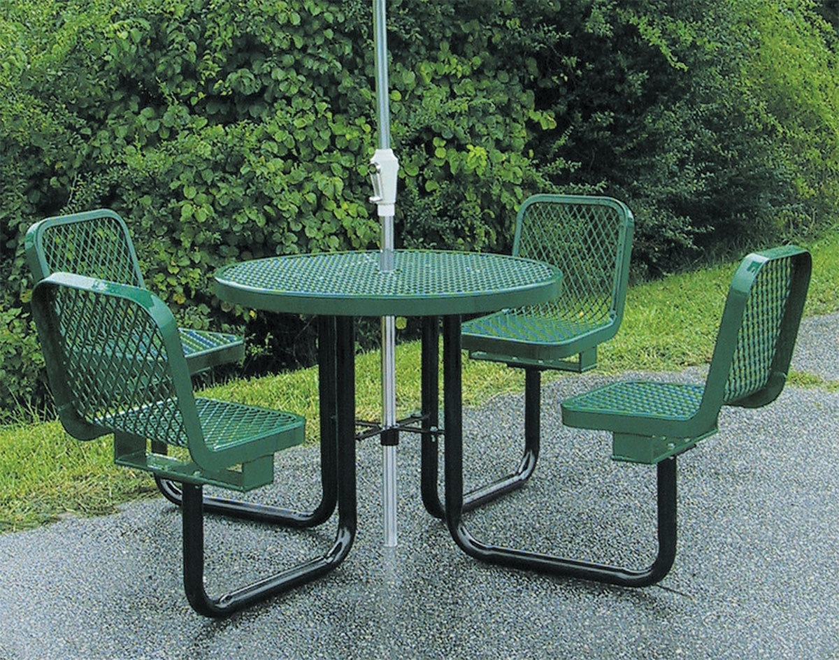 "Most Recently Released Dining Tables With Attached Stools Within 36"" Round Metal Picnic Table W/ Attached Chairs (View 18 of 25)"