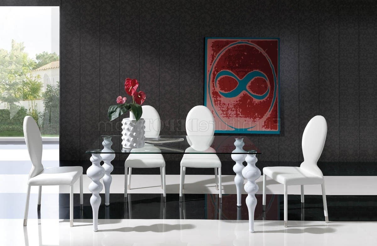Most Recently Released Dining Tables With White Legs Within Glass Top & White Legs Modern Dining Table W/options (View 6 of 25)