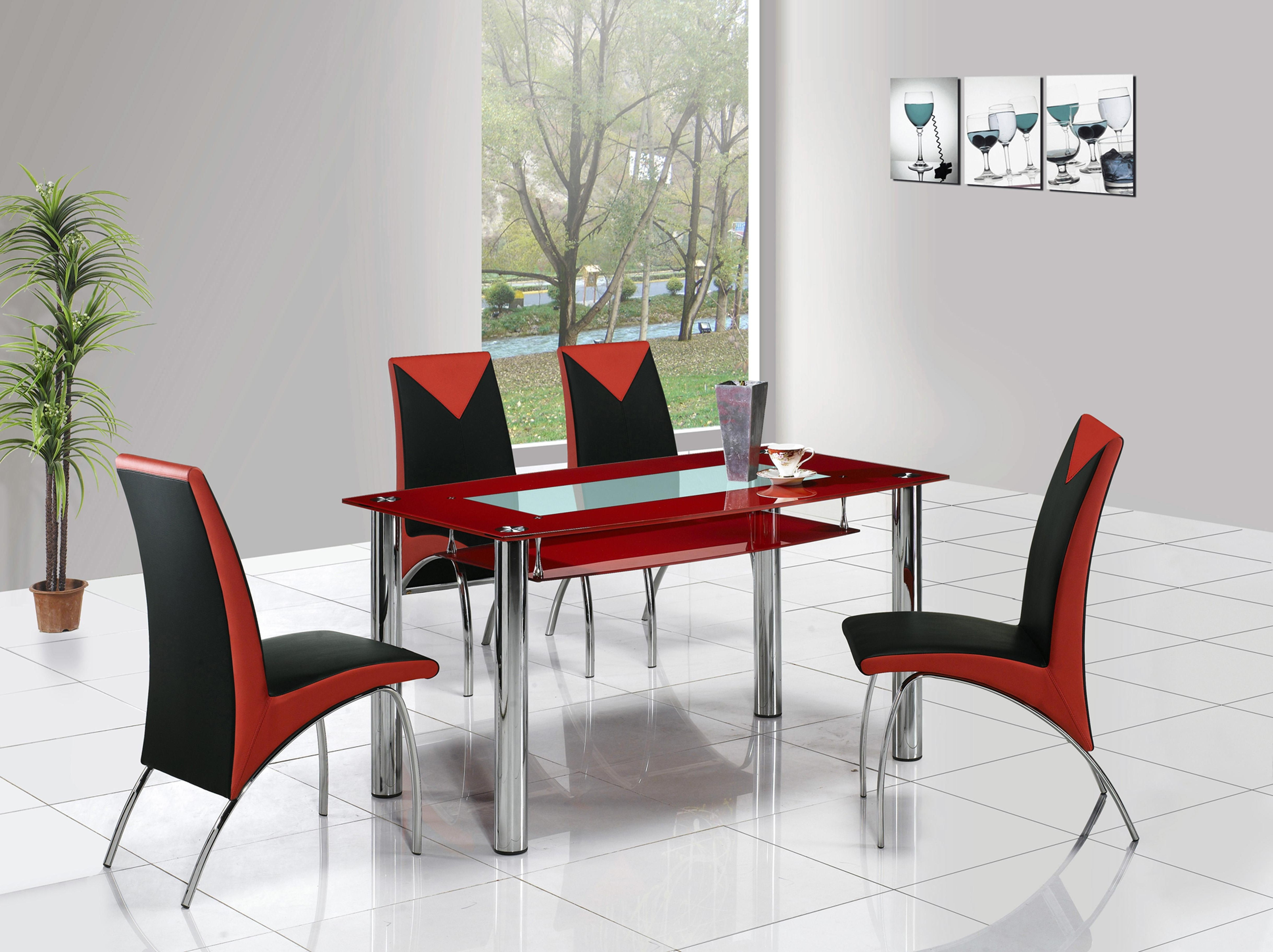 Most Recently Released Enjoyable Red Dining Sets Stainless Steel Breathtaking Stainless With Regard To Red Dining Table Sets (View 11 of 25)