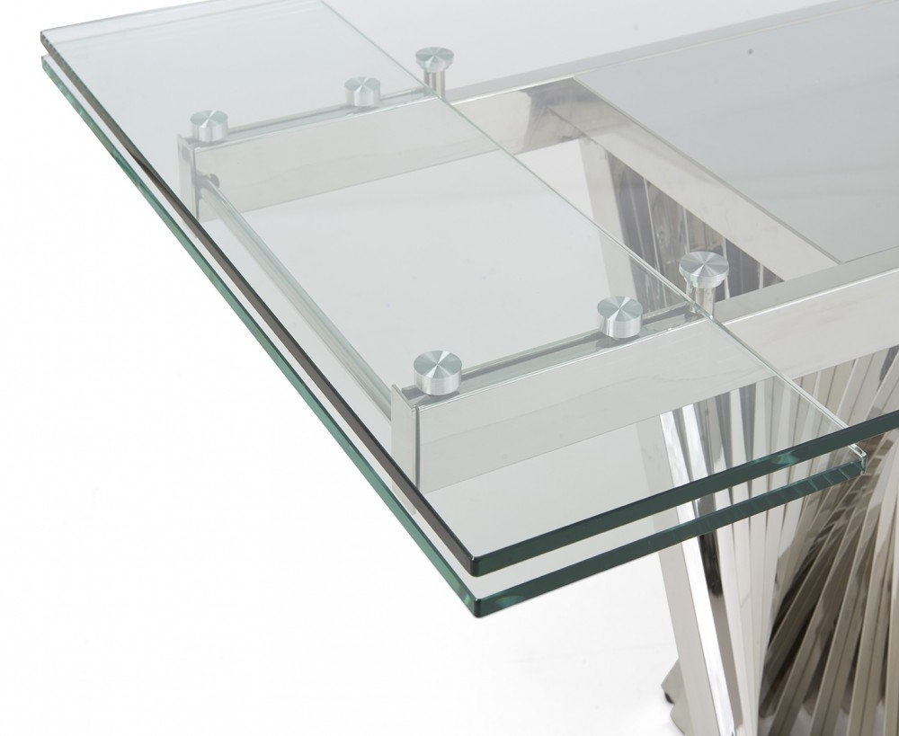 Most Recently Released Extending Glass Dining Tables Within Remington 180Cm Extending Glass Table  Swagger Inc (View 23 of 25)