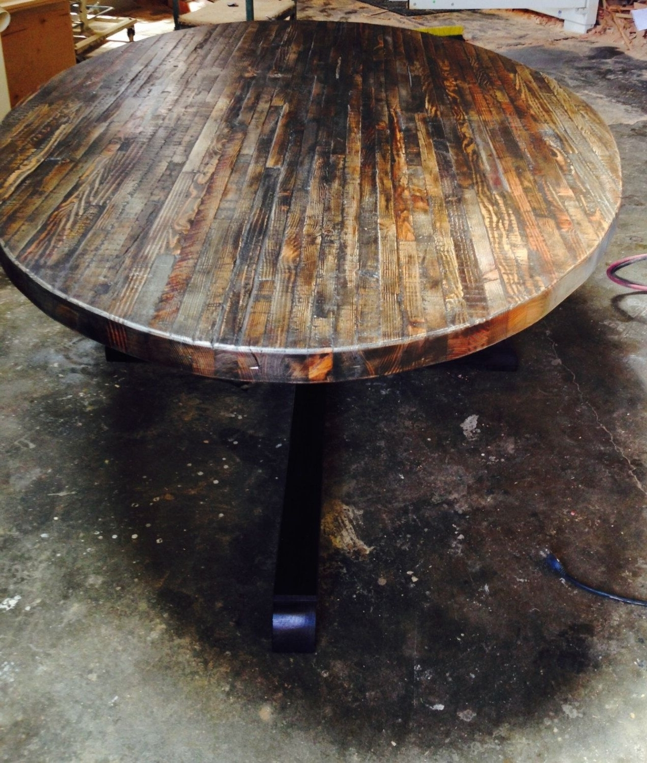 Most Recently Released Extra Large Custom Butcher Block Strip Oval Wood Dining Table From Intended For Oval Reclaimed Wood Dining Tables (View 11 of 25)