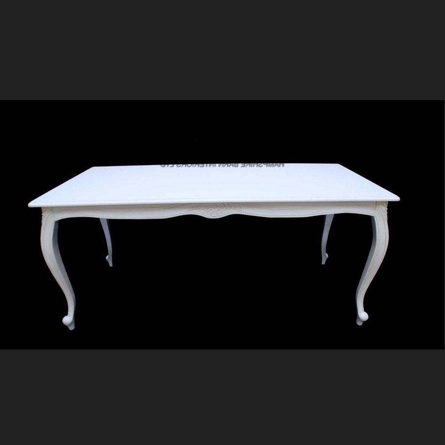 Most Recently Released French Chic Dining Tables Throughout Antique White French Chic White Ornate Dining Table Set With  (View 16 of 25)