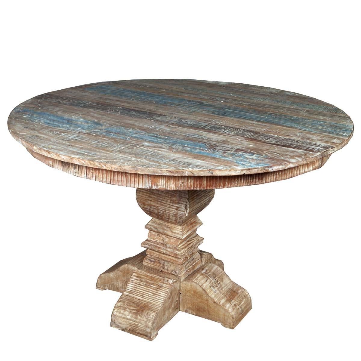 Most Recently Released French Quarter Rustic Reclaimed Wood Round Dining Table In Oval Reclaimed Wood Dining Tables (View 12 of 25)