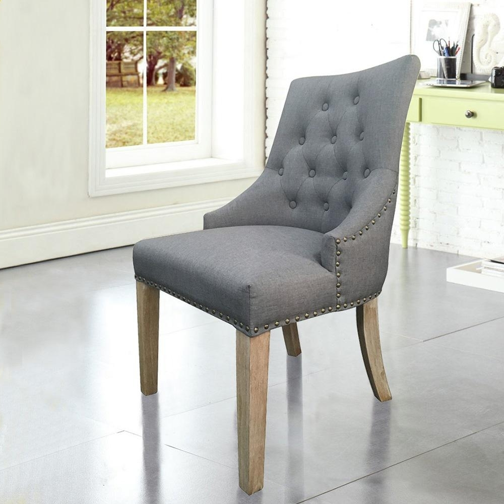 Most Recently Released Grey Linen Sexy Back Dining Chair With Copper Nails (Set Of 2) Dwc With Regard To Grey Dining Chairs (View 12 of 25)