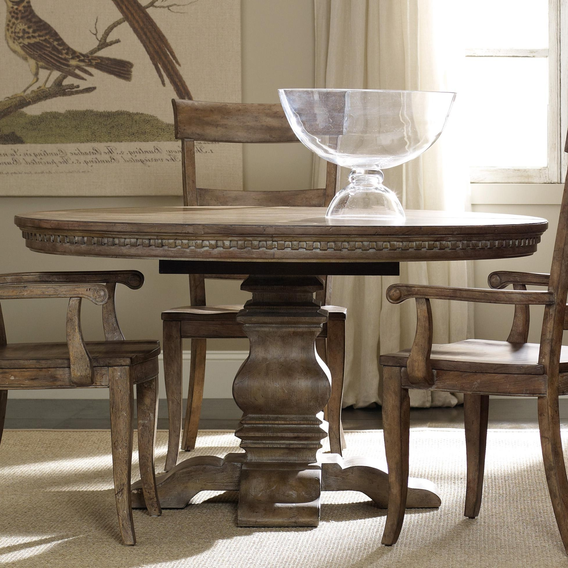 Most Recently Released Hamilton Home Sorella Round Dining Table With Pedestal Base And 20 Regarding Jefferson Extension Round Dining Tables (View 10 of 25)