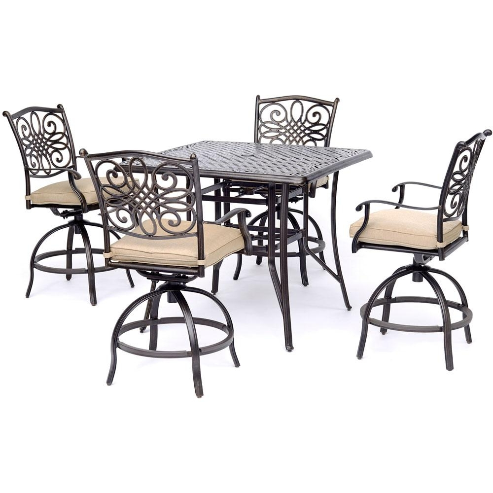 Most Recently Released Hanover Traditions 5 Piece Aluminum Outdoor High Dining Set With Tan Pertaining To Market 5 Piece Counter Sets (View 18 of 25)