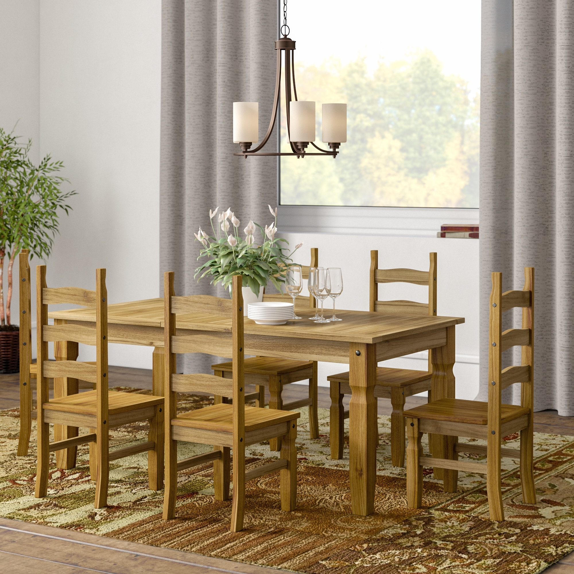 Most Recently Released Home & Haus Classic Corona Extendable Dining Set With 6 Chairs In Extendable Dining Tables And 6 Chairs (View 5 of 25)