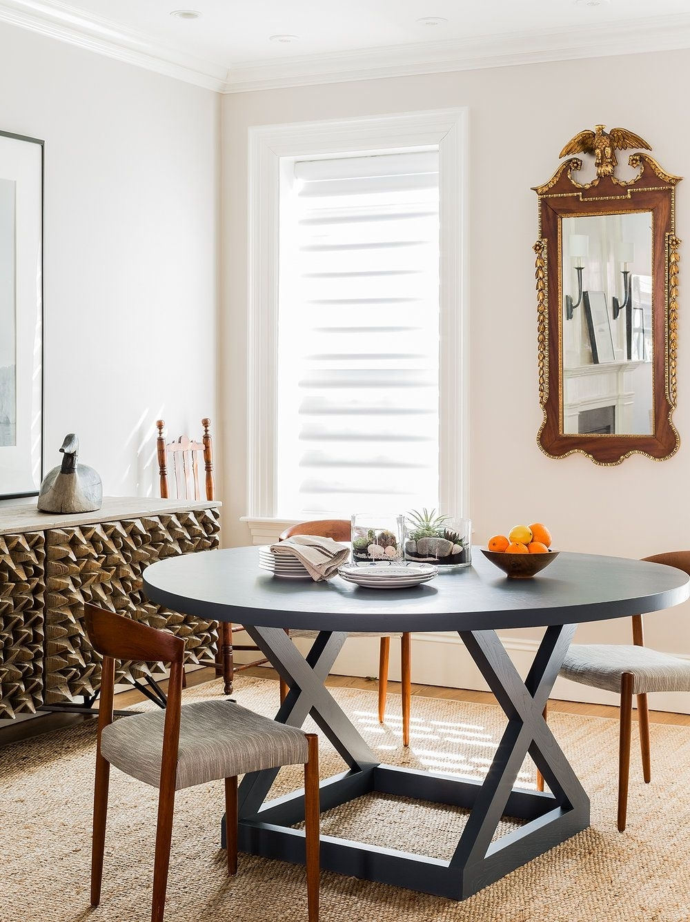 Most Recently Released Hudson Round Dining Tables Inside Round, Navy Dining Table Perfect For Small Spaces And Families (View 18 of 25)