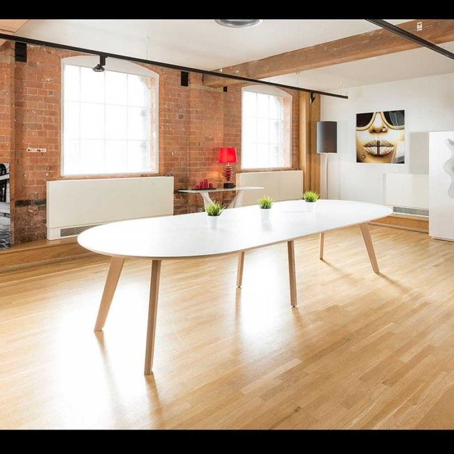 Most Recently Released Huge 1400X2900 Extending Oval Boardroom/dining Table,oak Leg,white Intended For White Oval Extending Dining Tables (Gallery 4 of 25)