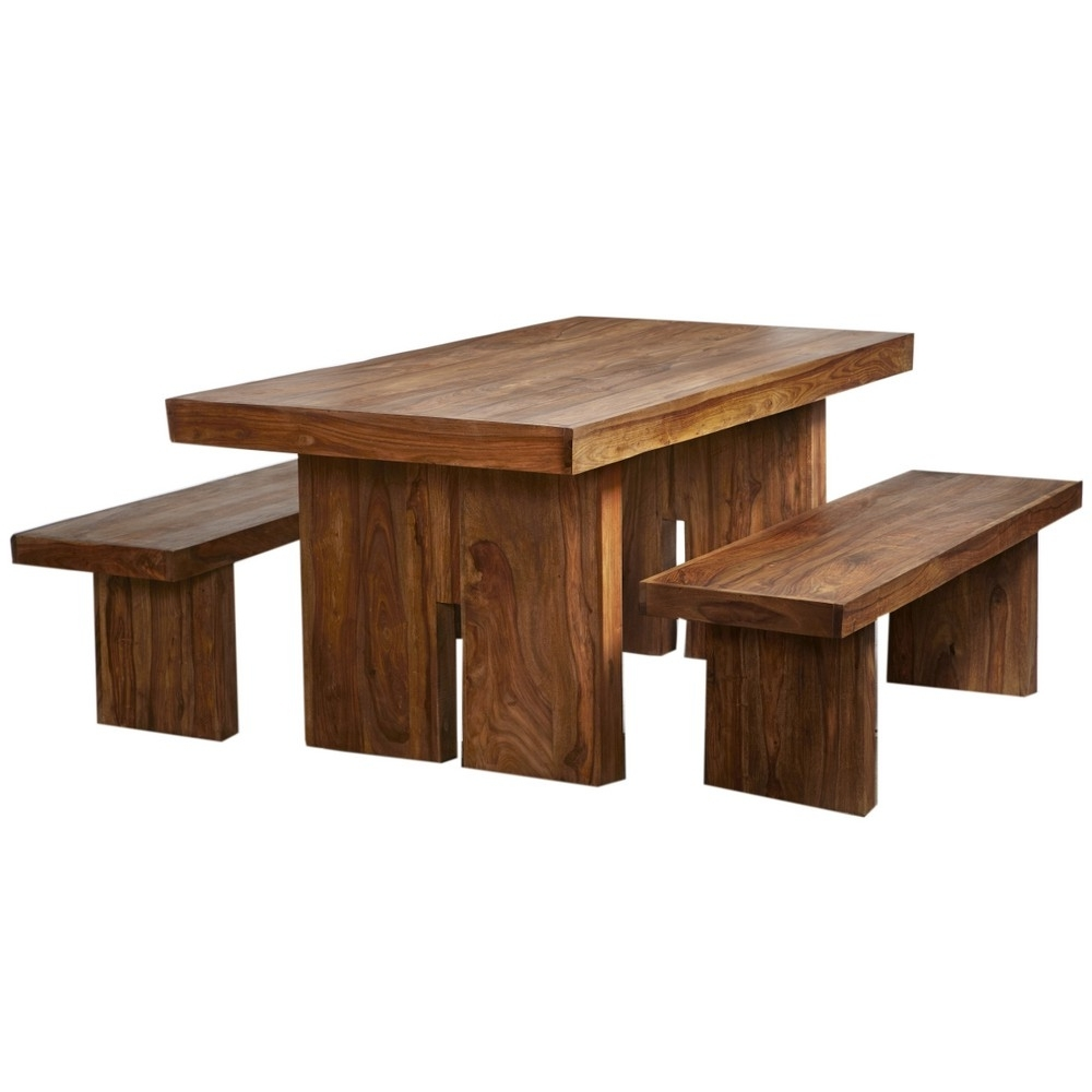 Most Recently Released Indian Wood Dining Tables Throughout Zen Natural Sheesham 170Cm Dining Table Set With 2 Benches  Verty (View 13 of 25)