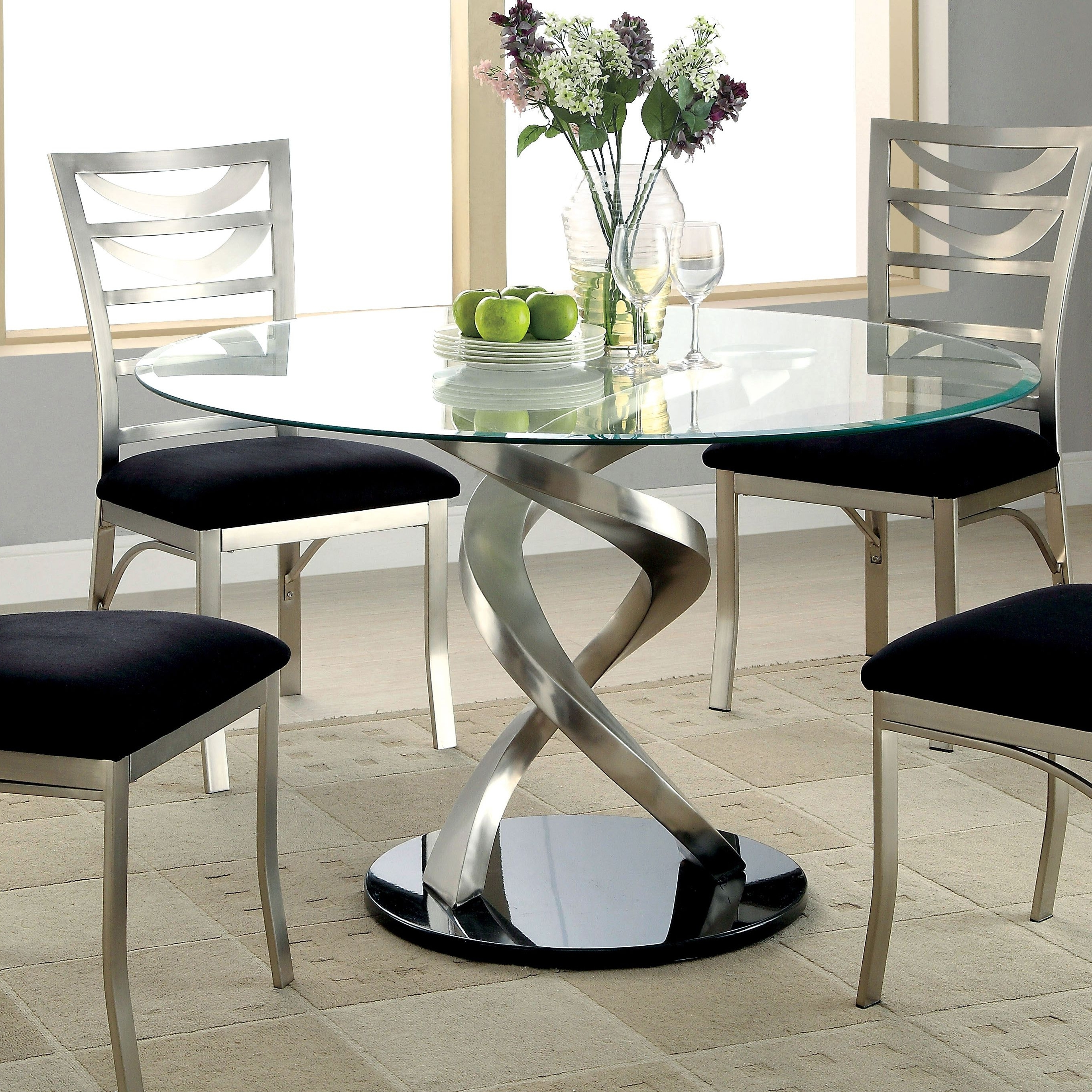 Most Recently Released Iron Rectangular Set Dining Astounding Glass And Round Room Chairs For Retro Glass Dining Tables And Chairs (View 12 of 25)