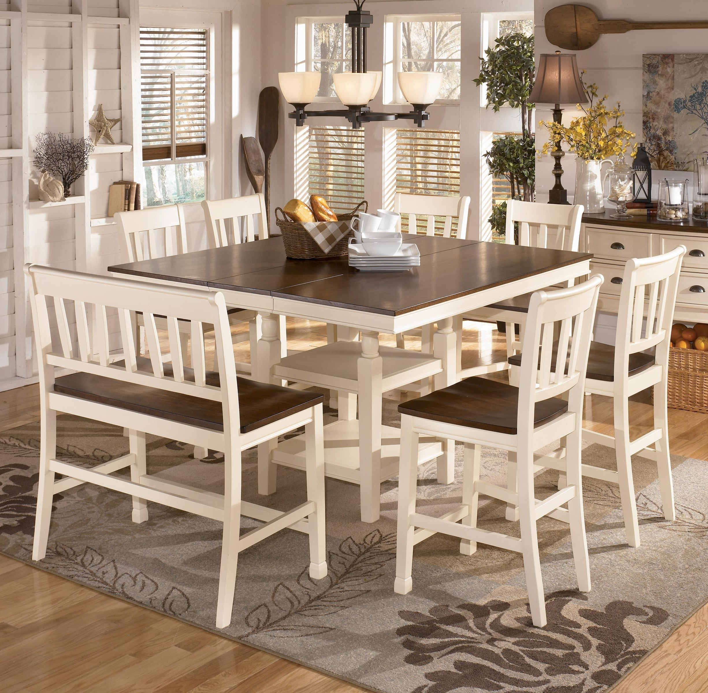 Most Recently Released Jaxon 5 Piece Extension Counter Sets With Fabric Stools Regarding Signature Designashley Whitesburg 8 Piece Square Counter (View 25 of 25)