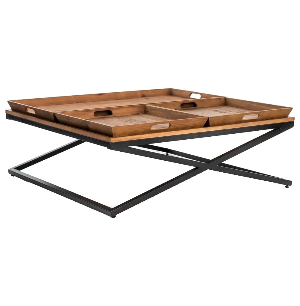 Most Recently Released Jaxon 7 Piece Rectangle Dining Sets With Wood Chairs Inside Jaxon Trio Tray Top Wood Iron Industrial Square Coffee Table (View 17 of 25)