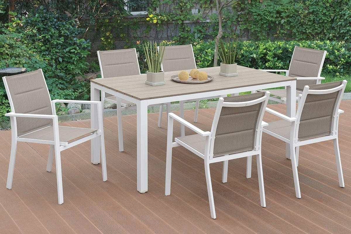 Most Recently Released Jaxon 7 Piece Rectangle Dining Sets With Wood Chairs With Jaxon Outdoor 7 Piece Dining Table Set (View 11 of 25)