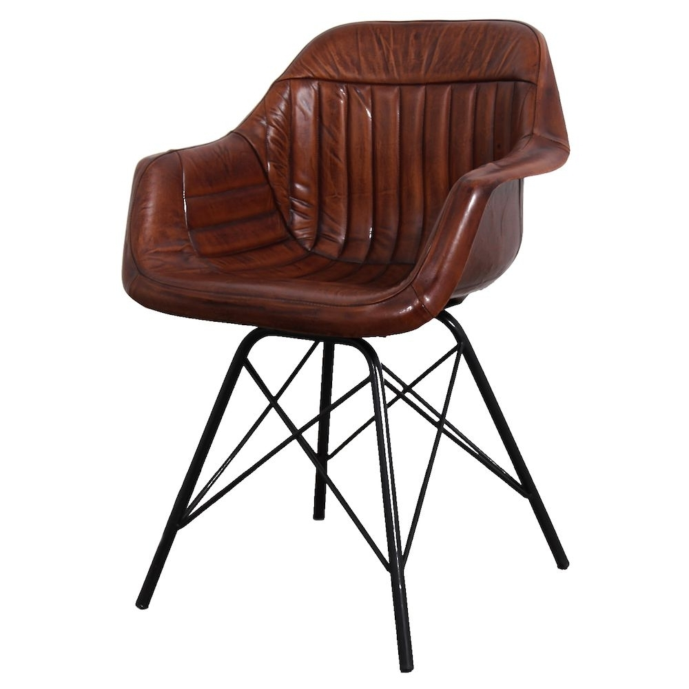 Most Recently Released Leather Dining Chairs Throughout Leather Metal Dining Chair (View 22 of 25)