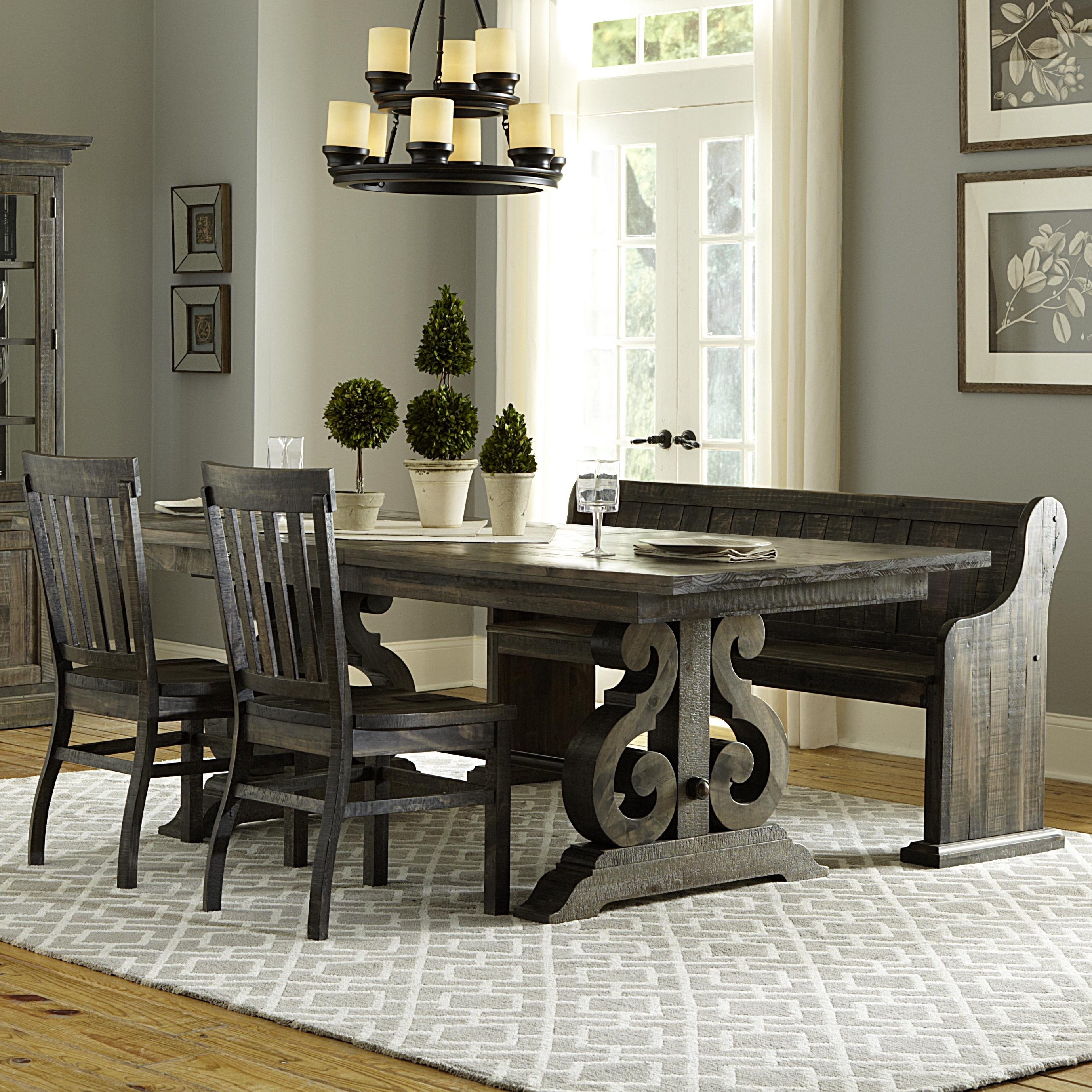 Most Recently Released Magnussen Home Bellamy Transitional Four Piece Weathered Gray Dining Intended For Dining Sets (View 18 of 25)