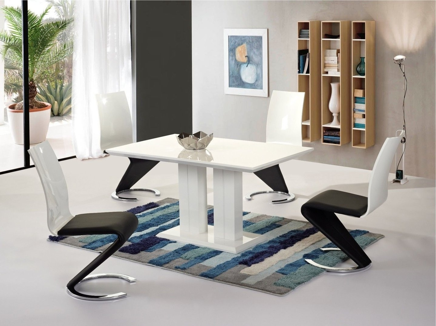 Most Recently Released Modern White High Gloss Dining Table And 4 Chairs Set With Regard To White Gloss Dining Tables 140Cm (View 9 of 25)