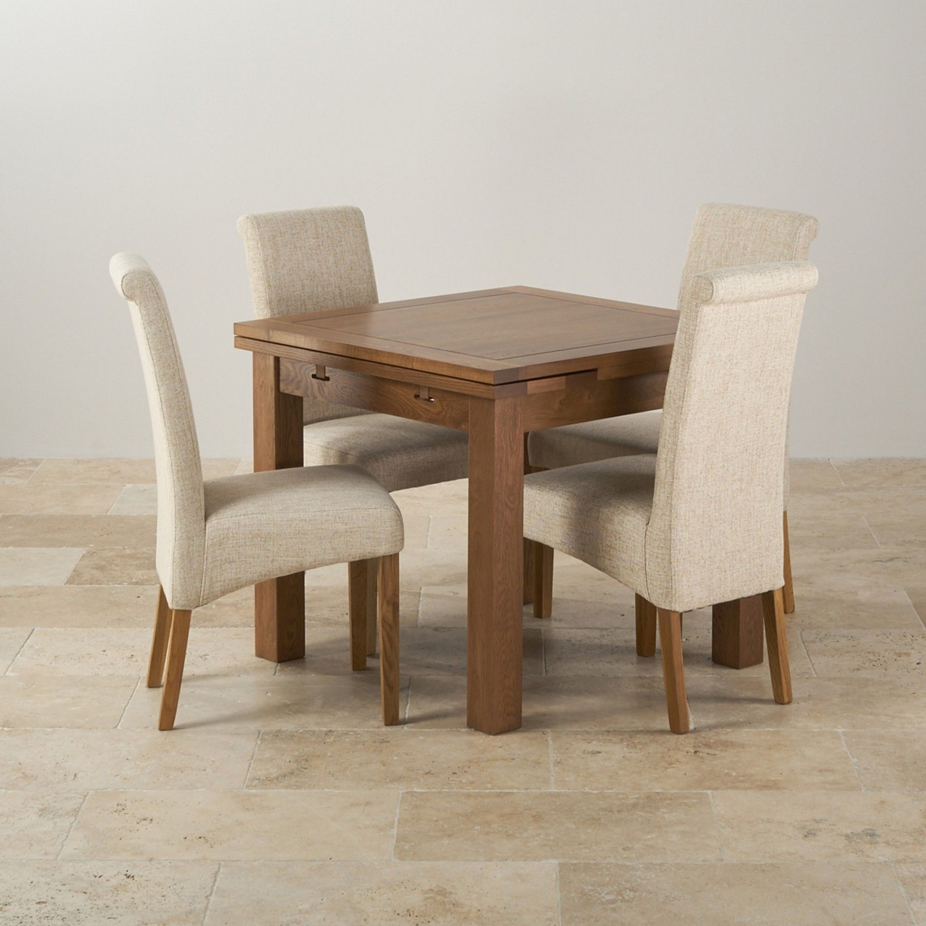 Most Recently Released Oak Extending Dining Tables Sets With Regard To The Rustic 3Ft X 3Ft Solid Oak Extending Dining Table And Four High (View 9 of 25)