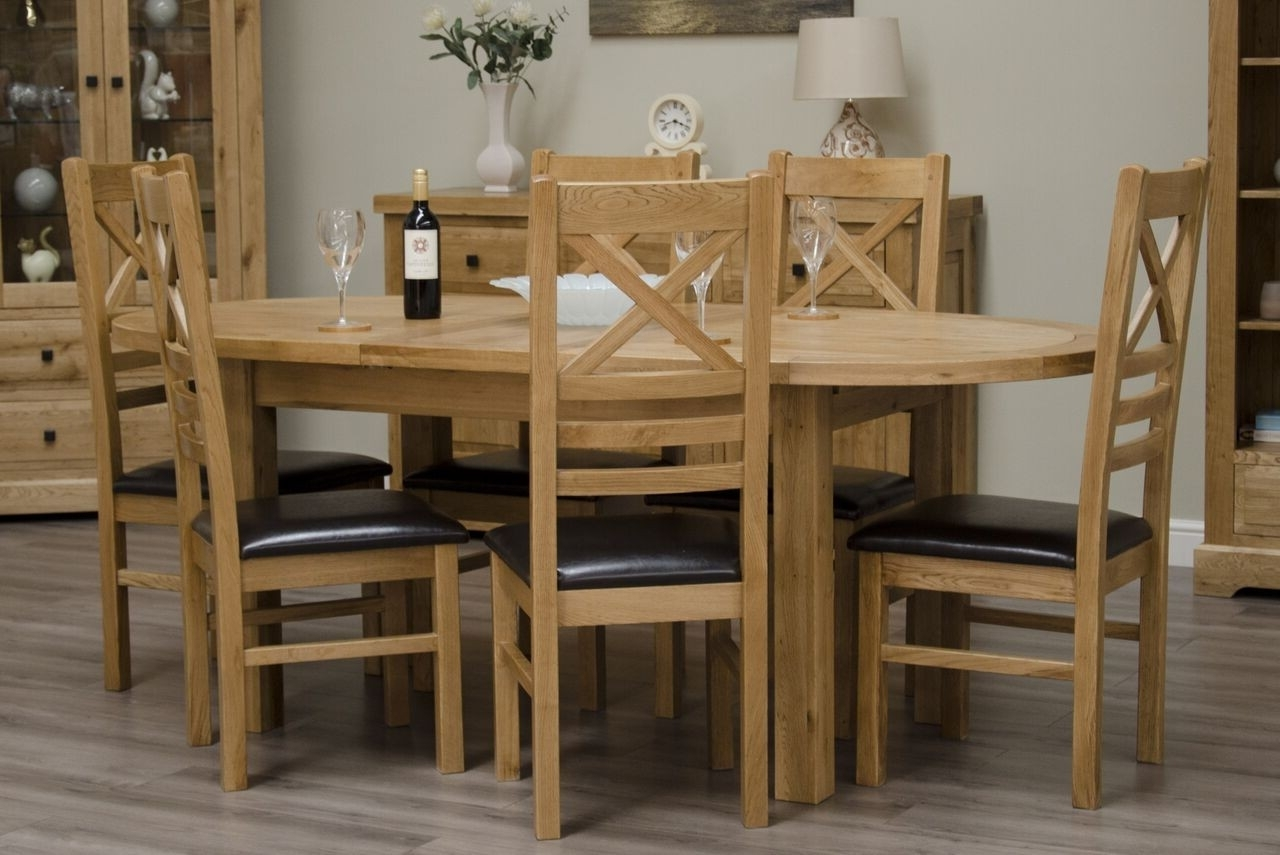 Most Recently Released Oval Extending Dining Tables And Chairs In Homestyle Deluxe Solid Oak Oval Extending Dining Table (View 15 of 25)