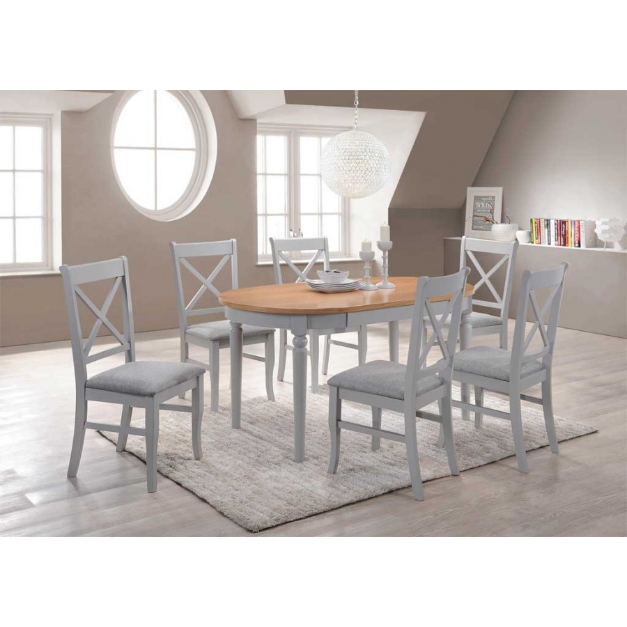 Most Recently Released Oval Extending Dining Tables And Chairs Throughout Orly Oval Dining Table + 6 Dining Chairs (View 16 of 25)