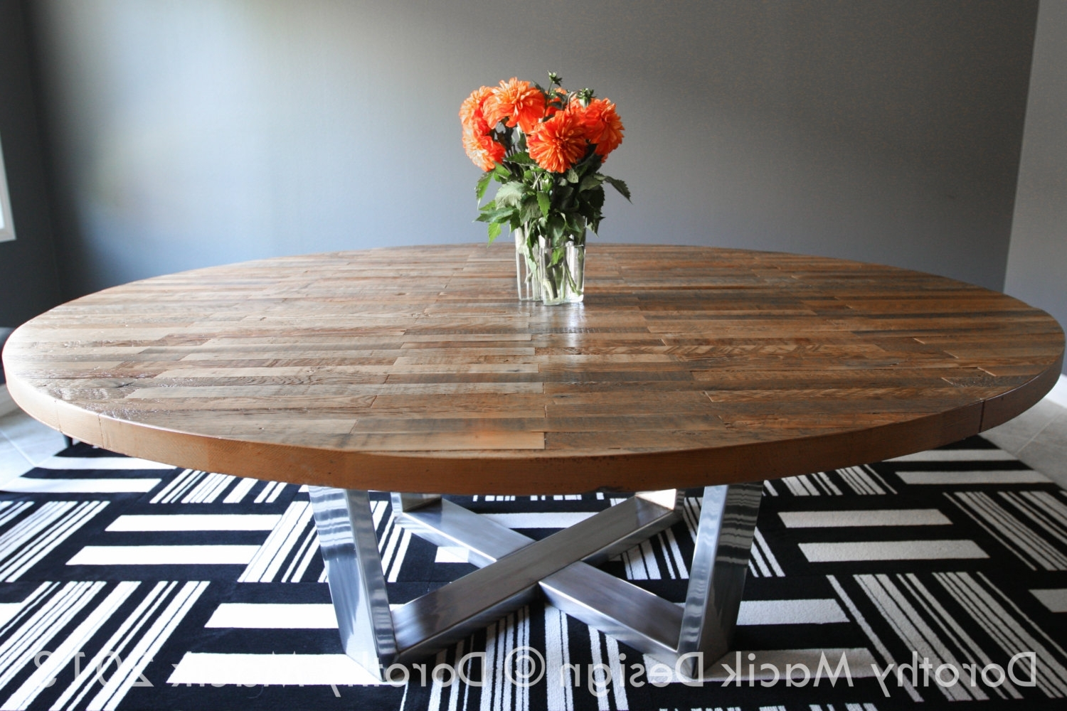 Most Recently Released Oval Reclaimed Wood Dining Tables Throughout Dining Room: Amazing Butcher Block Dining Table For Kitchen Or (View 13 of 25)