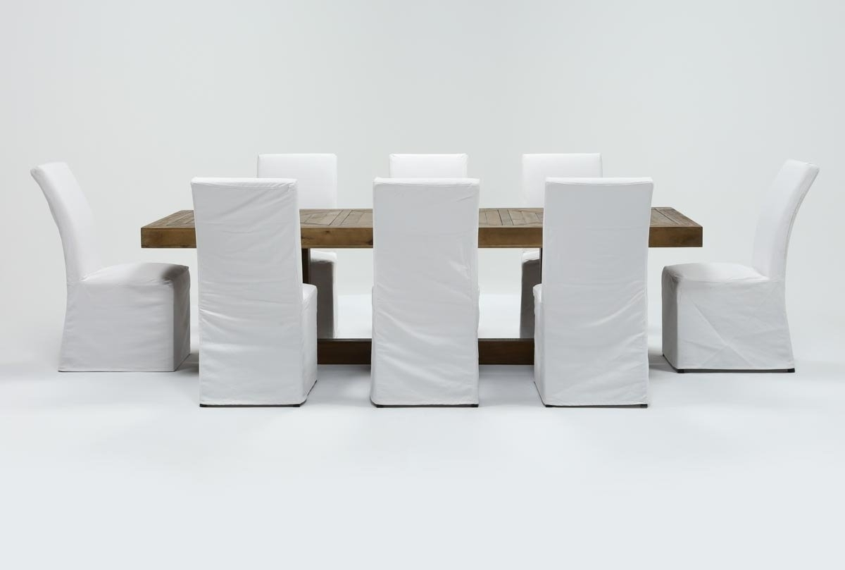 Most Recently Released Palazzo 7 Piece Dining Sets With Mindy Slipcovered Side Chairs In Palazzo 9 Piece Dining Set With Pearson White Side Chairs (Gallery 9 of 25)