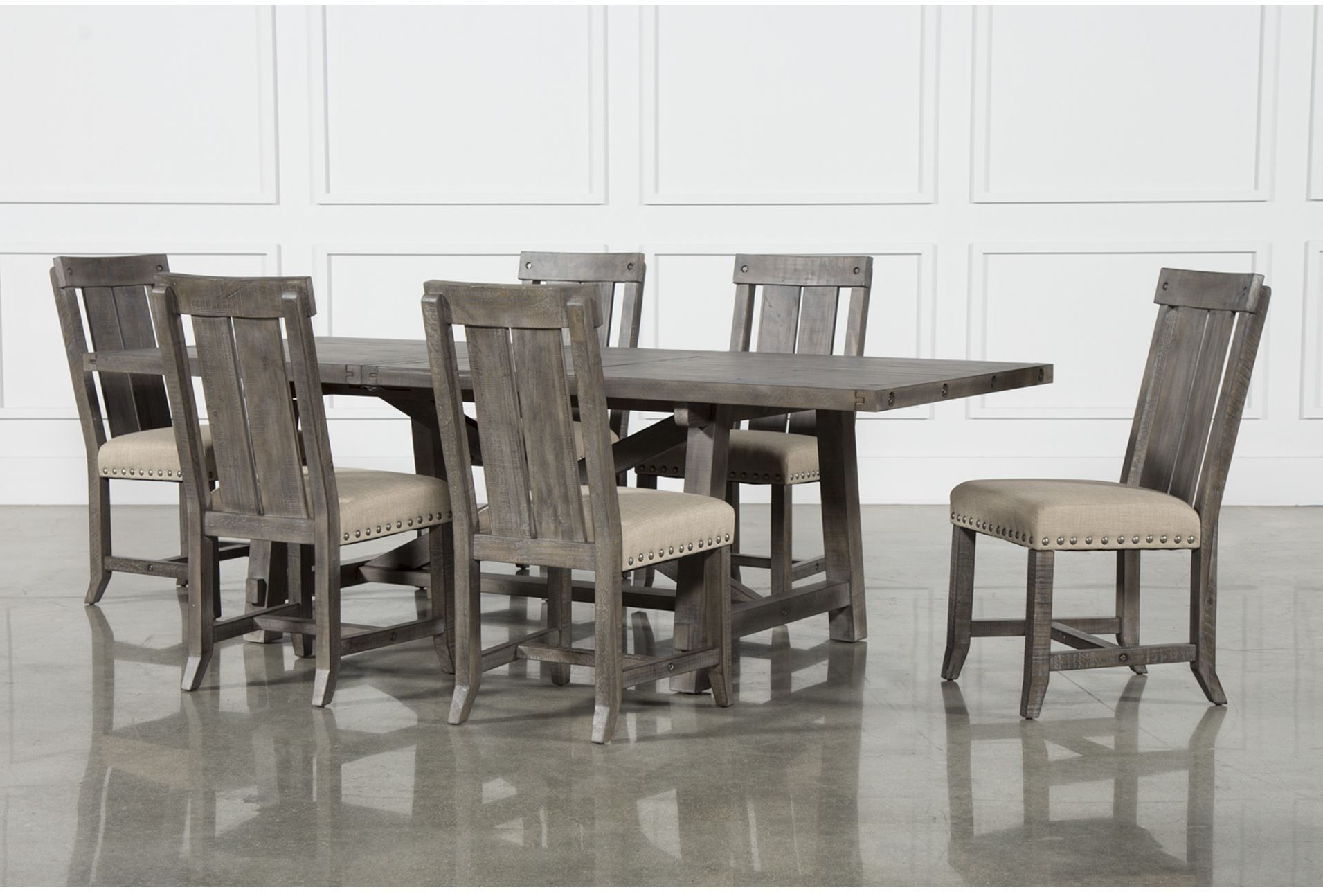 Most Recently Released Partridge 7 Piece Dining Sets For Jaxon Grey 7 Piece Rectangle Extension Dining Set W/wood Chairs (View 12 of 25)