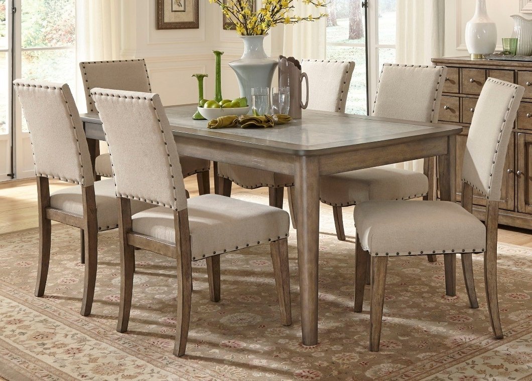 Most Recently Released Rectangle Leg Dining Table With Solids Poplar Weathered Gray Finish Pertaining To Rectangular Dining Tables Sets (View 5 of 25)