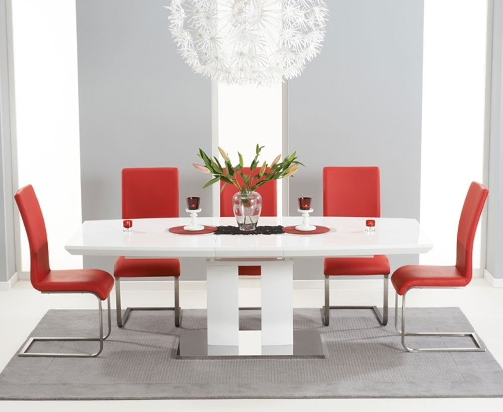 Most Recently Released Rossini 180Cm High Gloss Extending Dining Table With 6 Malibu Red Intended For Red Gloss Dining Tables (View 12 of 25)