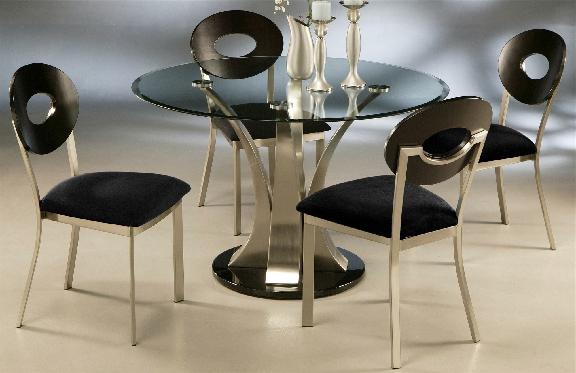 Most Recently Released Round Black Glass Dining Tables And Chairs Inside Round Black Glass Dining Table With Round Stainless Steel Base Added (View 5 of 25)