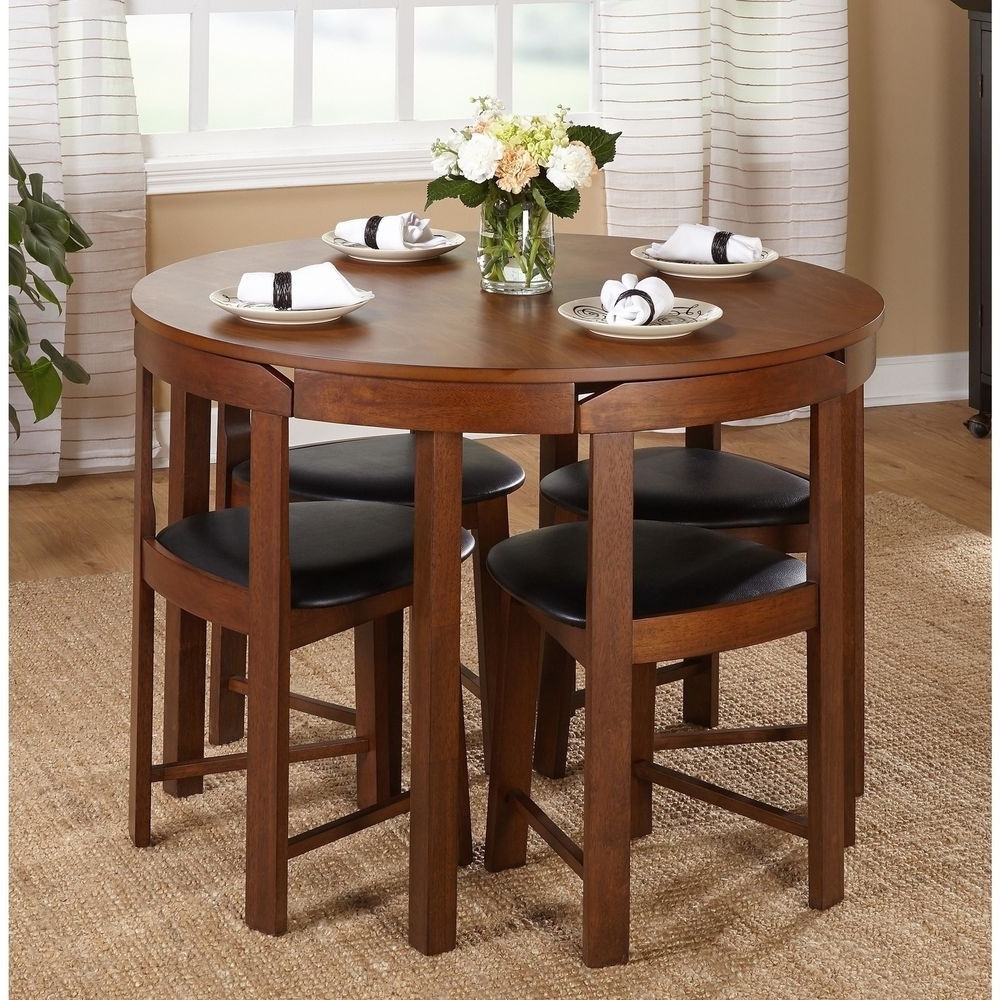 Most Recently Released Round Dining Table Set Small Spaces 5 Pc Kitchen Furniture Dorm Room Inside Small Dining Tables And Chairs (View 18 of 25)