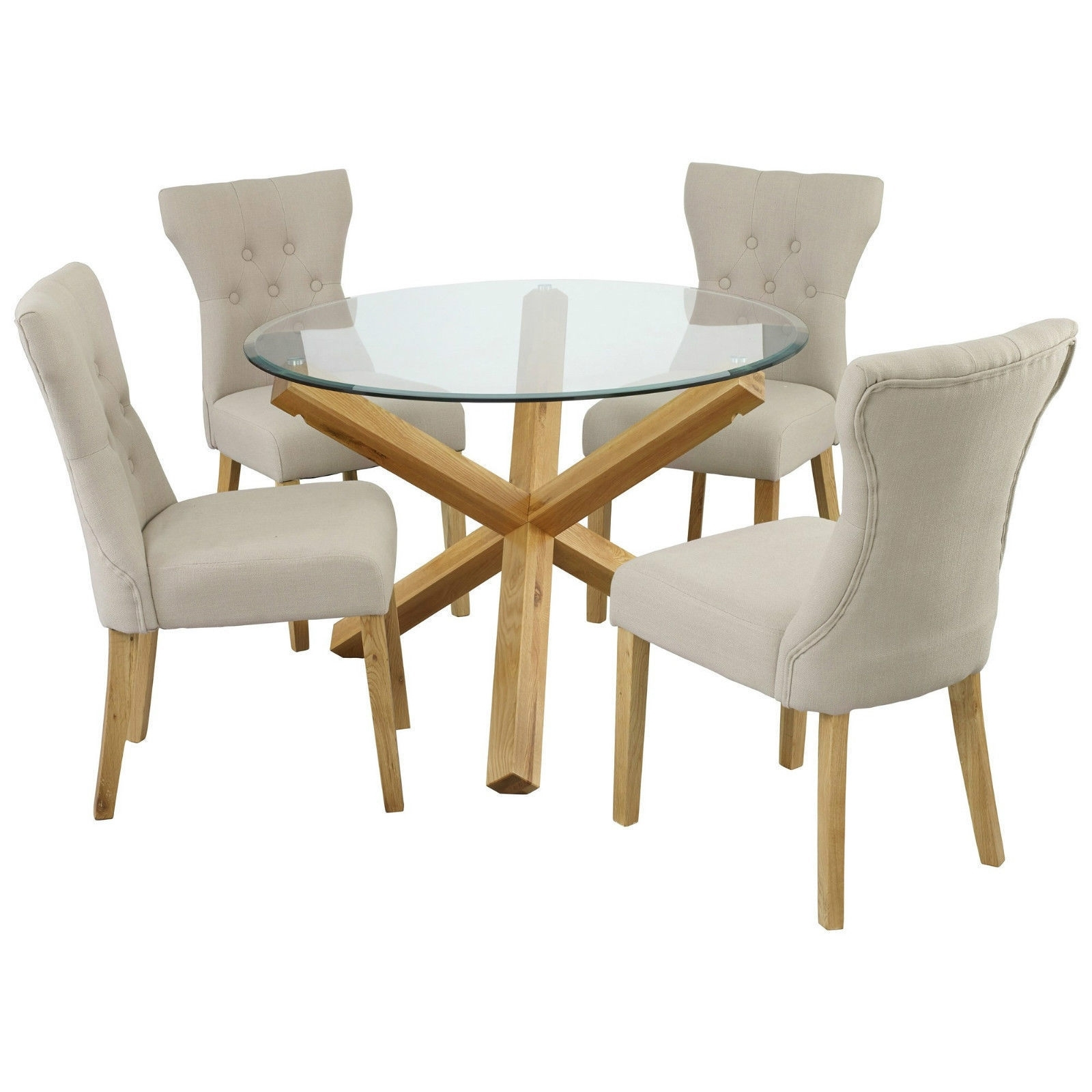 Most Recently Released Round Glass And Oak Dining Tables Intended For New Oporto Solid Oak & Glass Dining Table Round: 107Cm Or 120Cm (View 9 of 25)