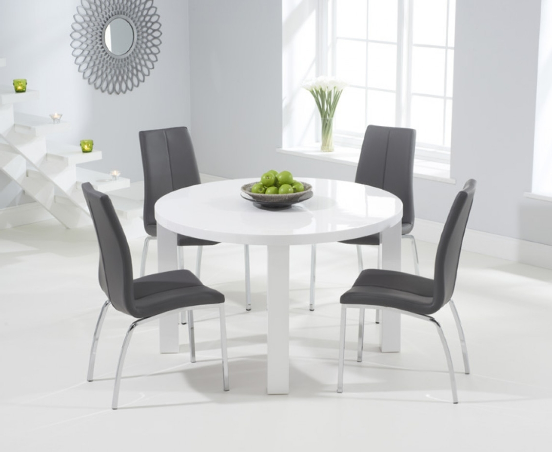 Most Recently Released Round High Gloss Dining Tables With Regard To Atlanta 120Cm Round White High Gloss Dining Table With Cavello (Gallery 19 of 25)