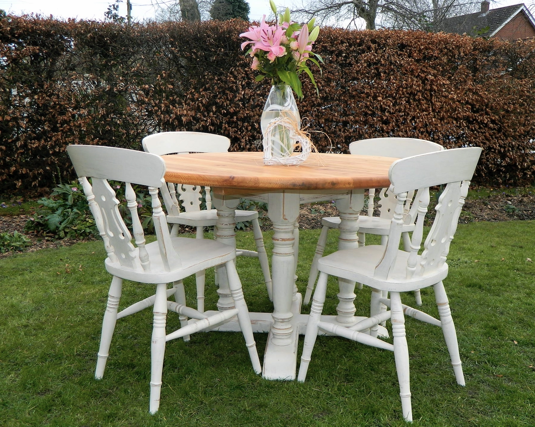 Most Recently Released Shabby Dining Tables And Chairs Intended For Beautiful Shabby Chic Chunky Pine Round Farmhouse Dining Table And  (View 14 of 25)