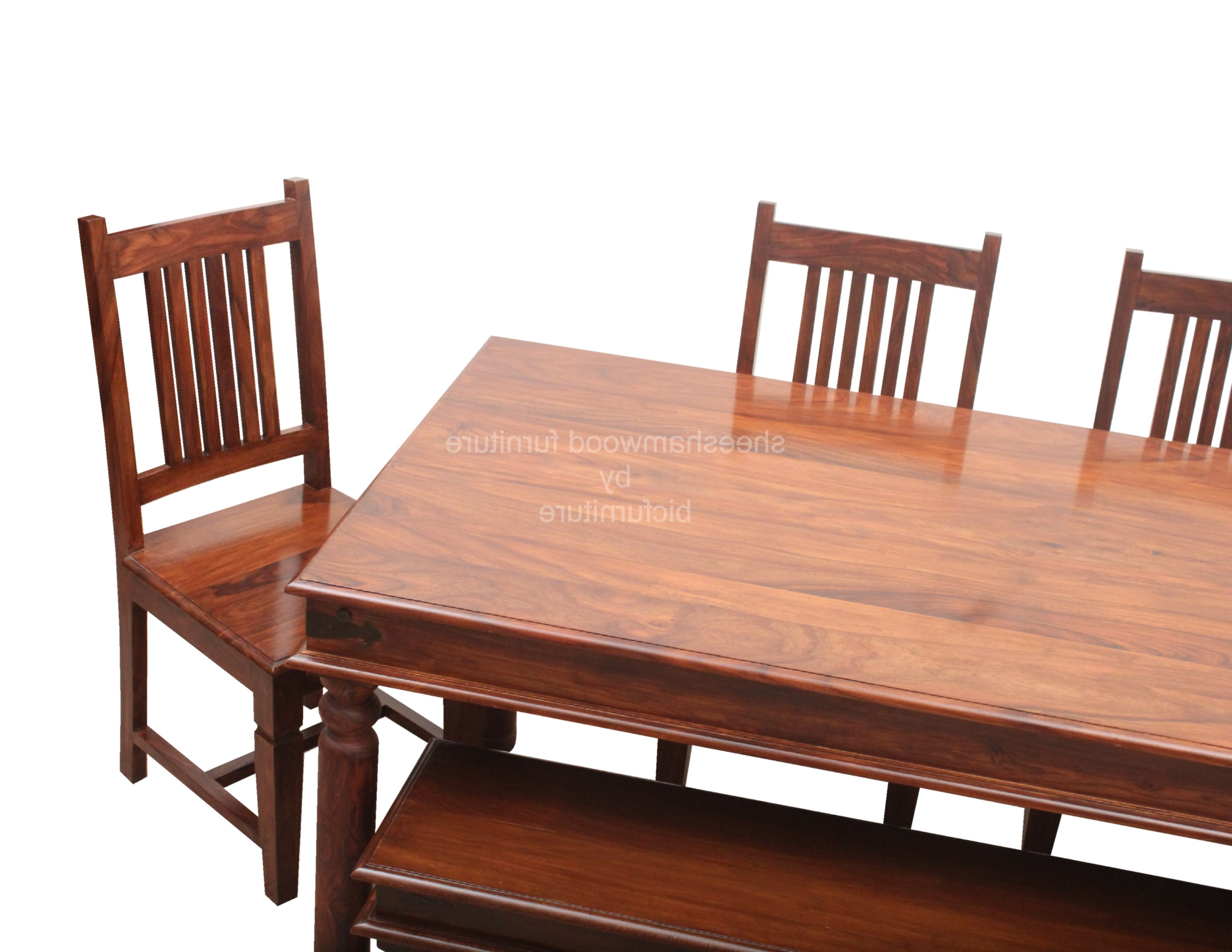 Most Recently Released Sheesham Wood Dining Chairs With Sturdy Solid Wood Dining Set In Sheesham Wood (View 14 of 25)
