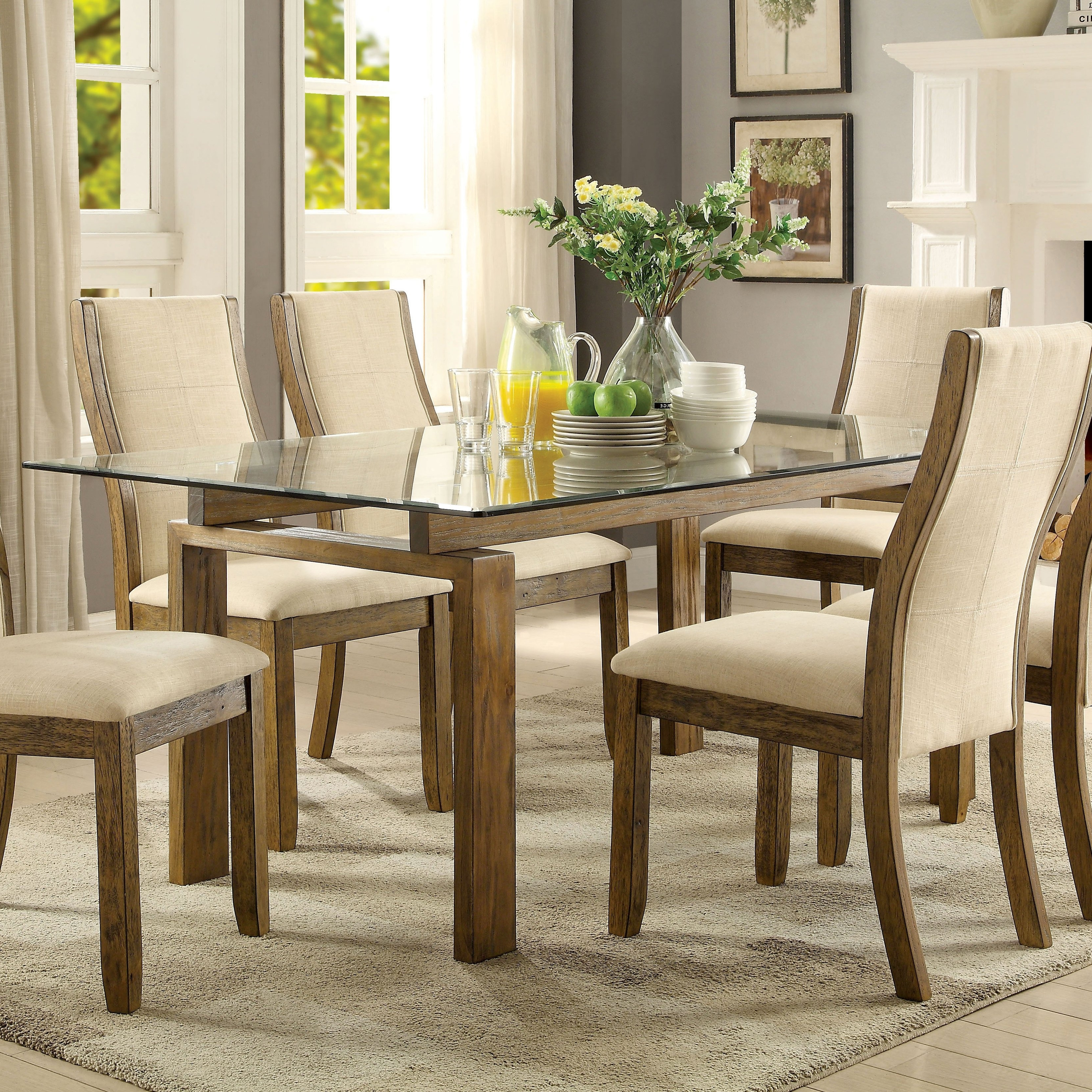 Most Recently Released Shop Furniture Of America Lenea Contemporary Glass Top Oak Dining With Glass And Oak Dining Tables And Chairs (View 14 of 25)