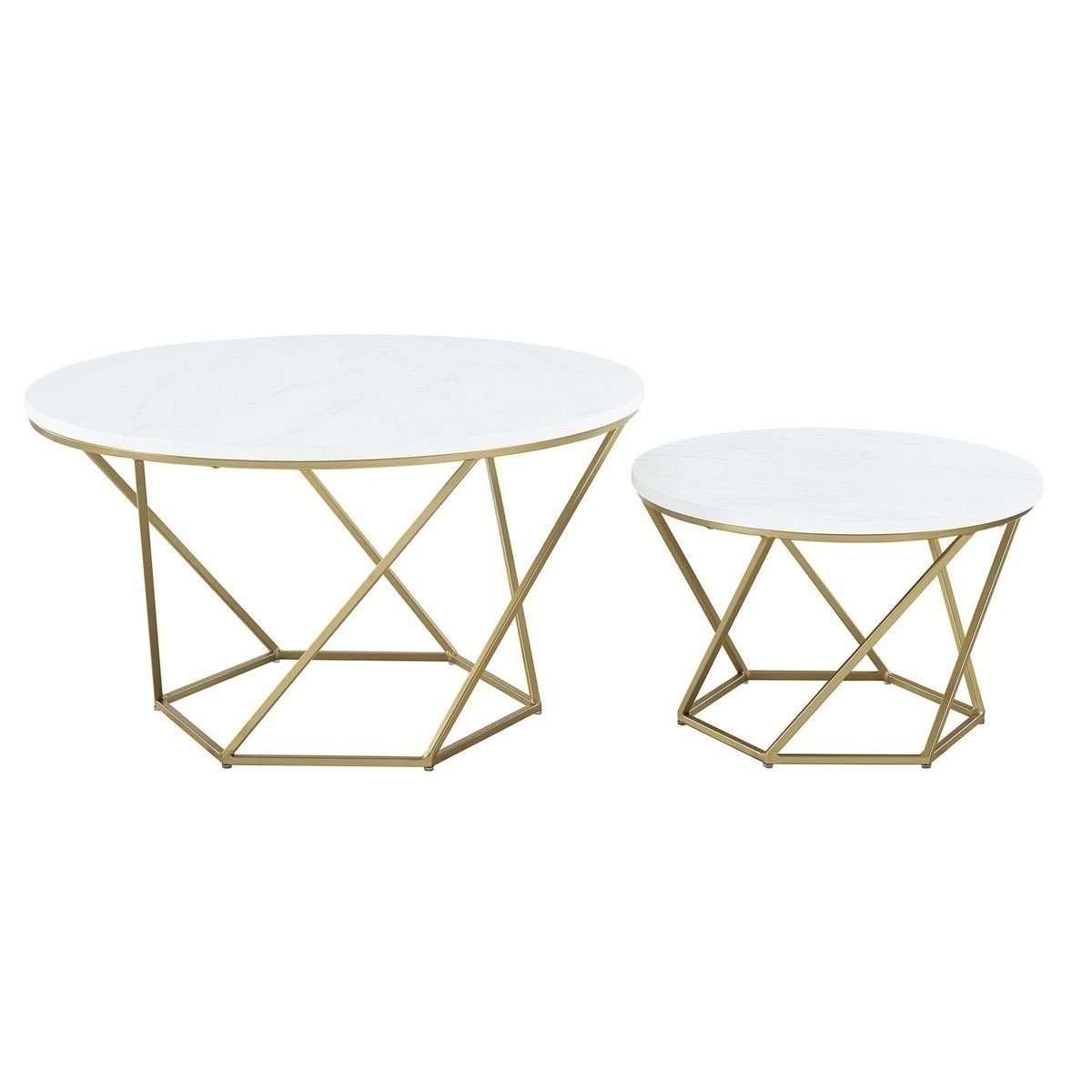 Most Recently Released Shop We Furniture Geometric Nesting Coffee Table – White Marble And With Regard To Carly Triangle Tables (View 17 of 25)