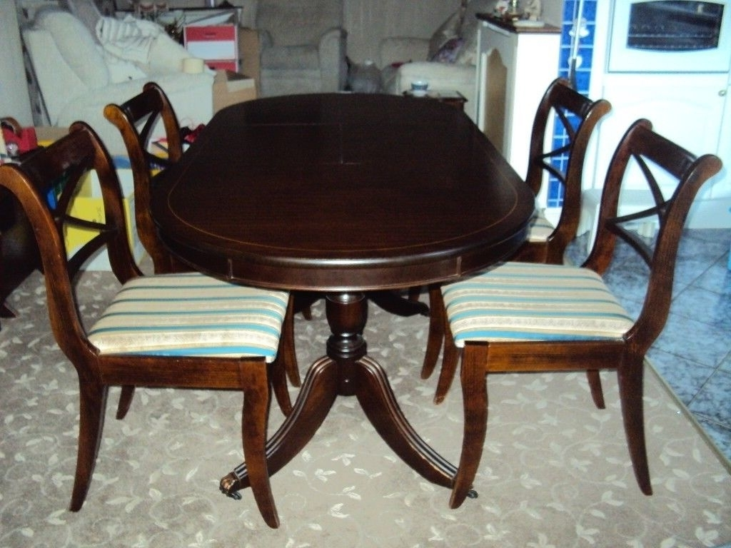 Most Recently Released Small Extending Dining Table/4 Regency Stripped Chairs, Fabulous With Small Extending Dining Tables And Chairs (View 21 of 25)