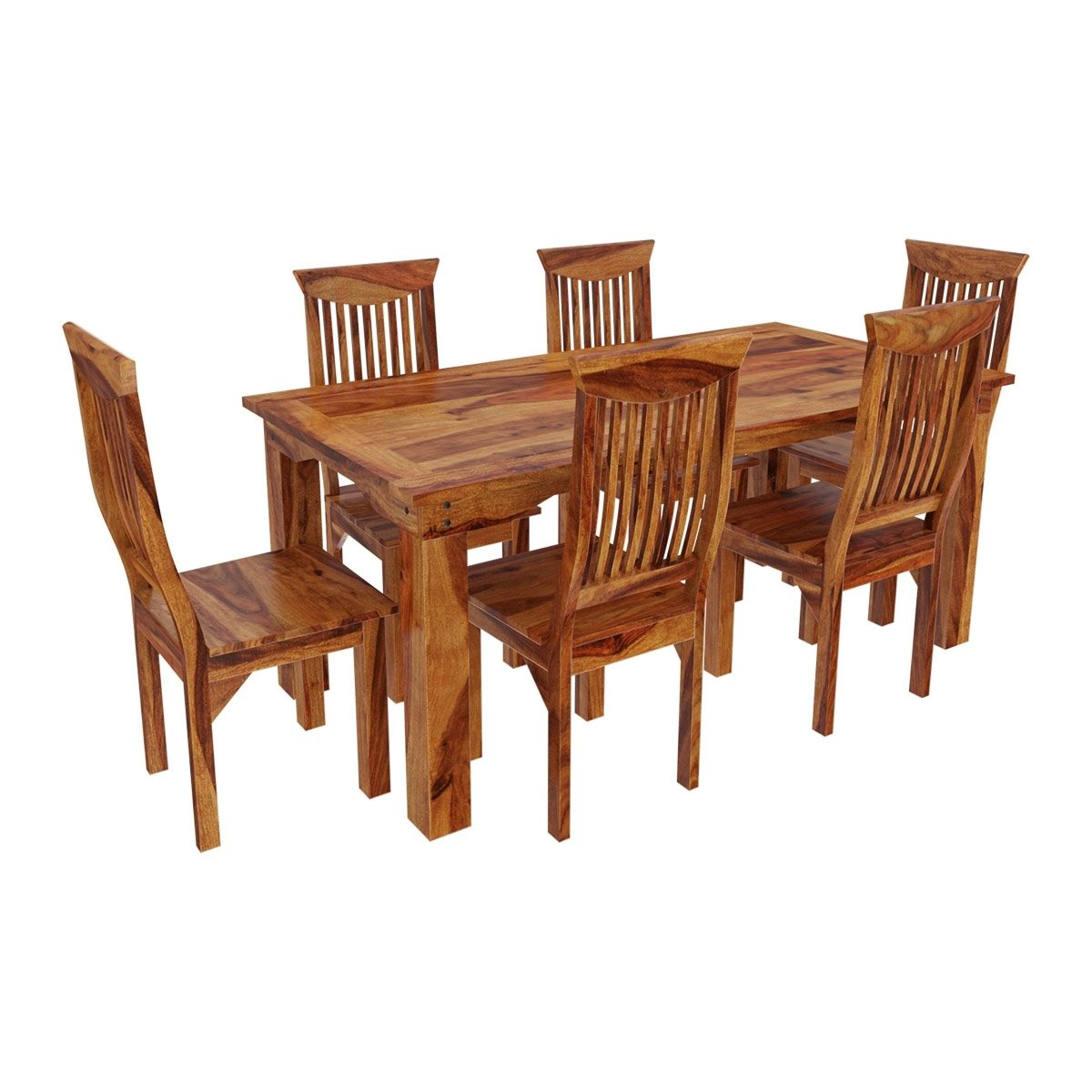 Most Recently Released Solid Wood Dining Tables Pertaining To Idaho Modern Rustic Solid Wood Dining Table & Chair Set (View 14 of 25)