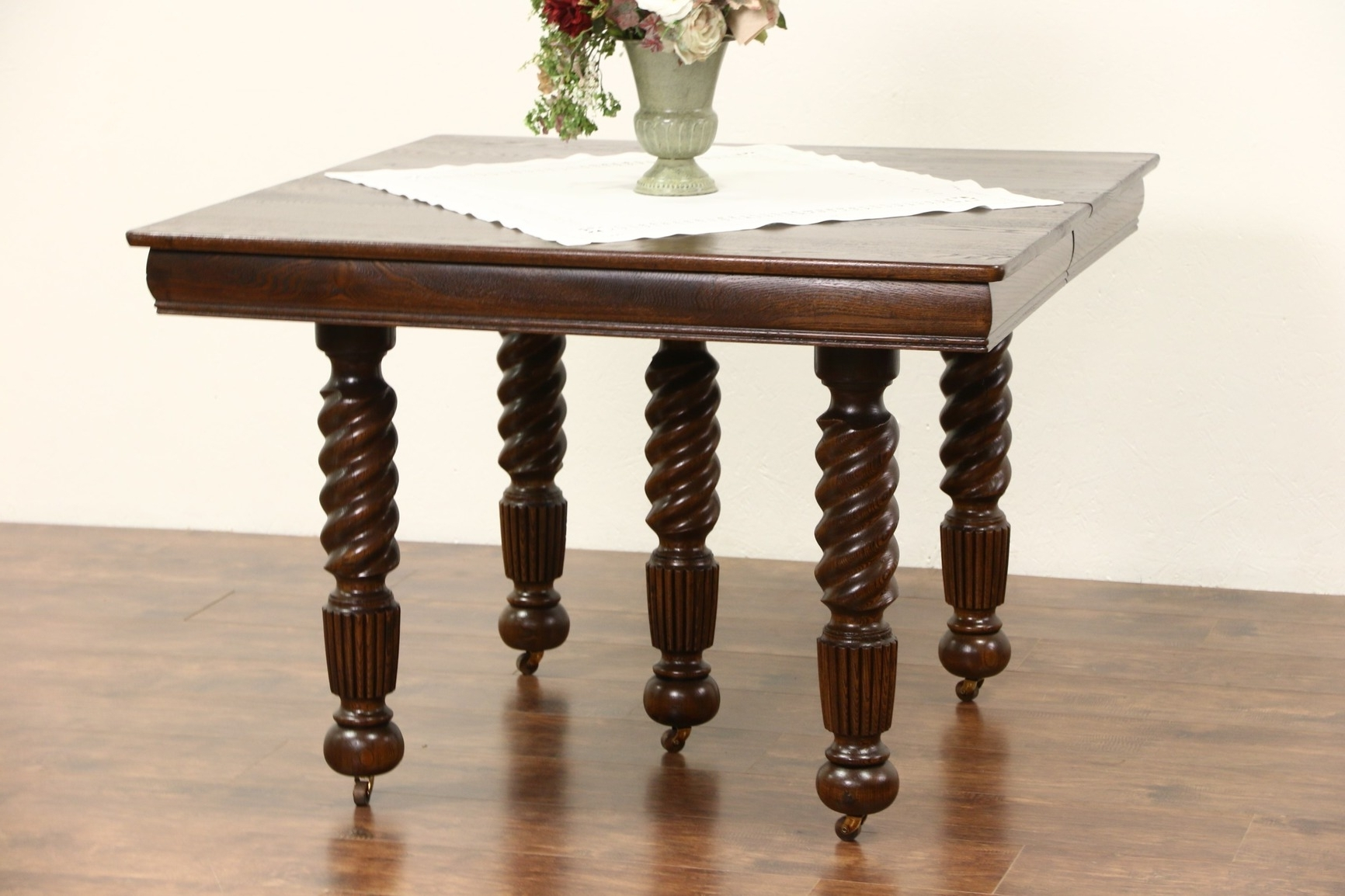 Most Recently Released Square Oak Dining Tables With Sold – Oak 1900 Antique Square Dining Table, 4 Leaves, 5 Spiral Legs (View 10 of 25)