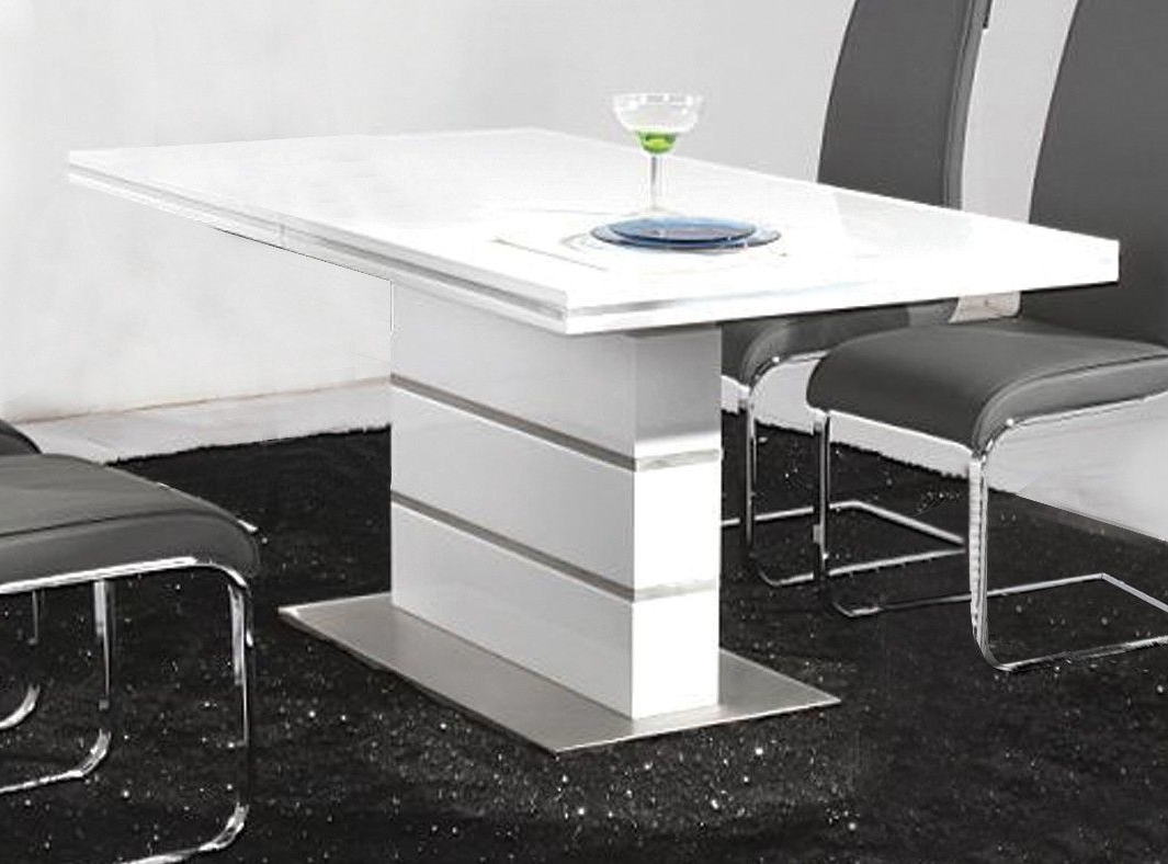 Most Recently Released White Glossy Acrylic Based Dining Table Using Oval White Marble Top With Regard To Gloss White Dining Tables (View 17 of 25)