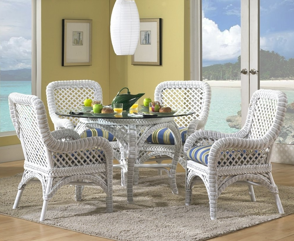Most Recently Released Wicker And Glass Dining Tables Within Dining Room Coloured Dining Chairs Wicker Glass Dining Table Rattan (View 10 of 25)