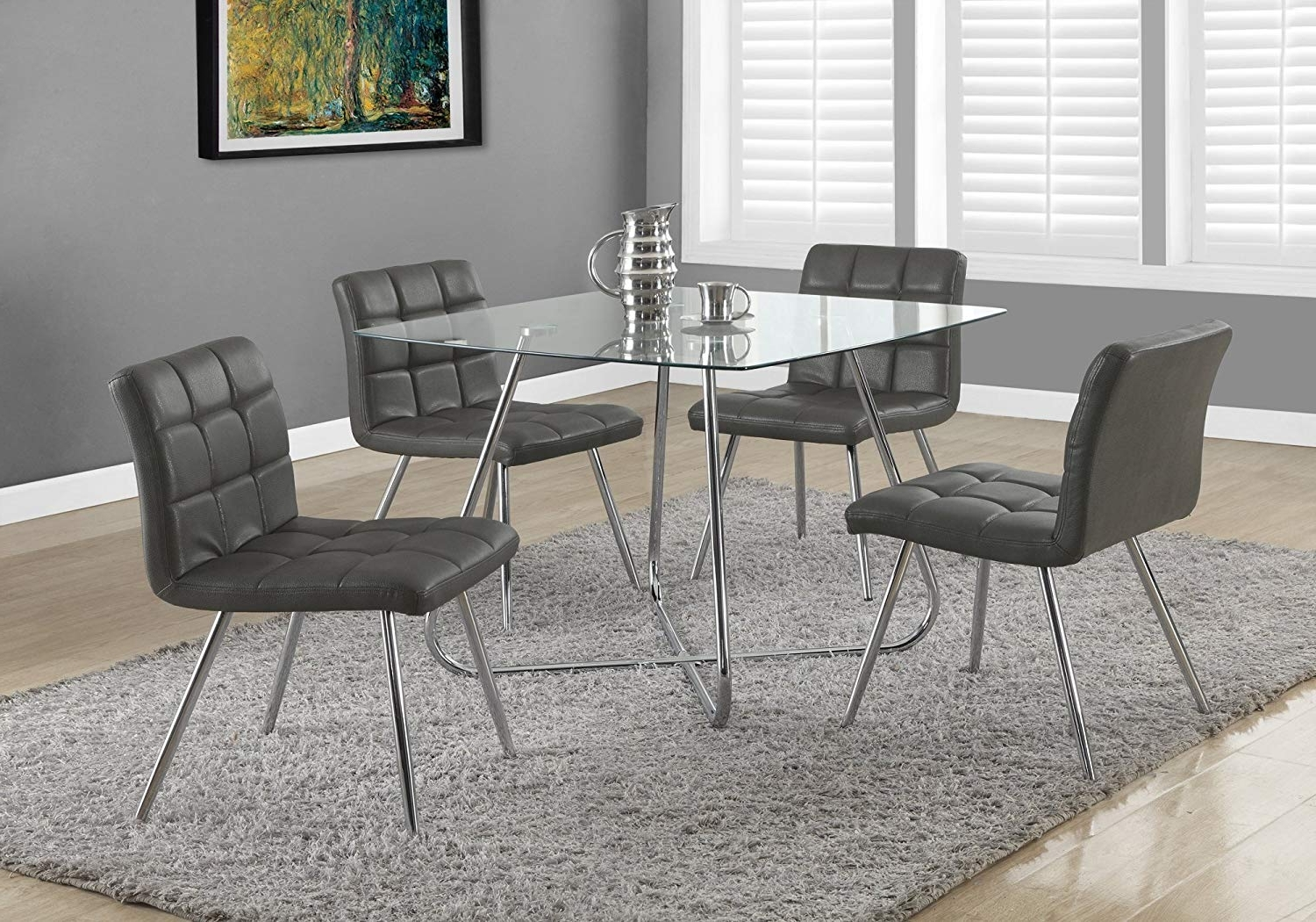Most Up To Date Amazon – Monarch Specialties Grey Leather Look/chrome Metal 2 Intended For Chrome Dining Room Chairs (View 21 of 25)