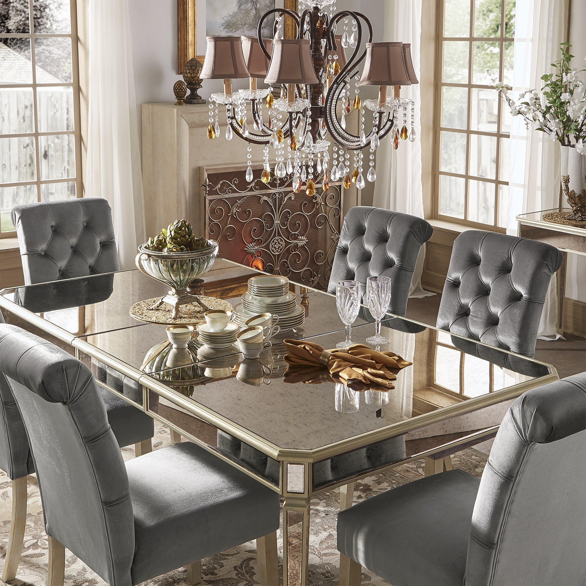 Most Up To Date Antique Mirror Dining Tables With Shop Clara Silver Velvet And Antique Gold Mirrored Dining Set (View 13 of 25)