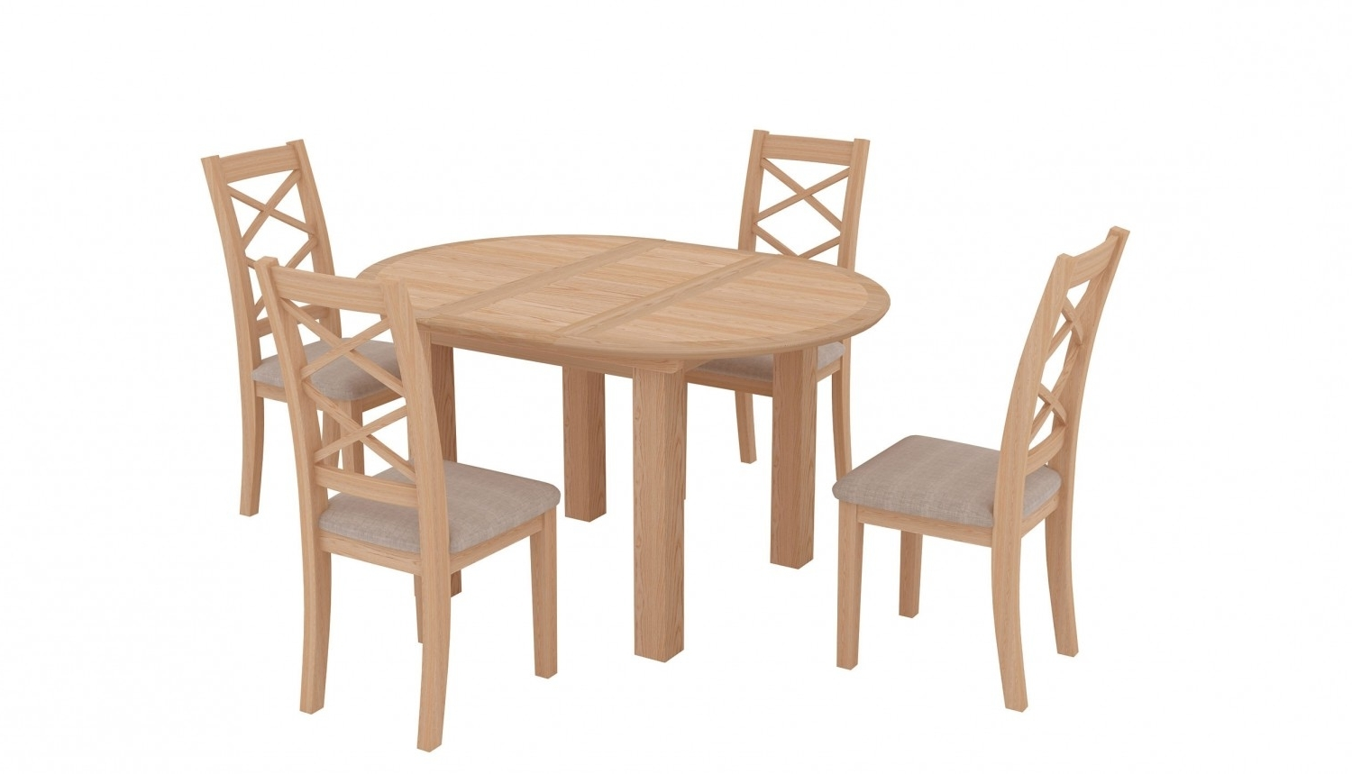 Most Up To Date Aspen Oak Round Extending Table & 4 Wooden Chairs (View 13 of 25)