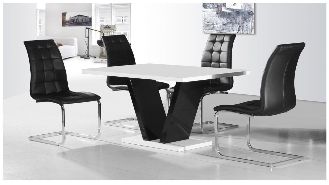 Most Up To Date Black High Gloss Dining Tables Pertaining To White & Black High Gloss Dining Table & 4 Chairs Set – Homegenies (Gallery 4 of 25)