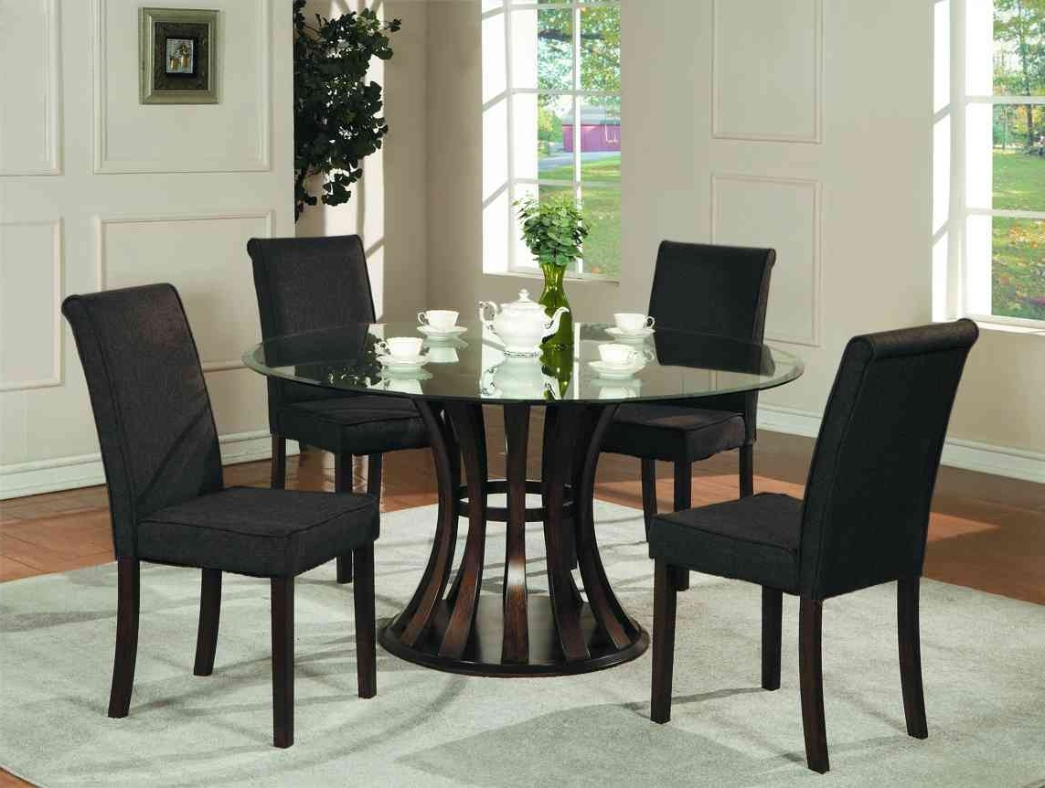 Most Up To Date Black Wood Dining Tables Sets Pertaining To 5 Round Black Dining Room Table And Chairs Furniture Ideas (View 20 of 25)