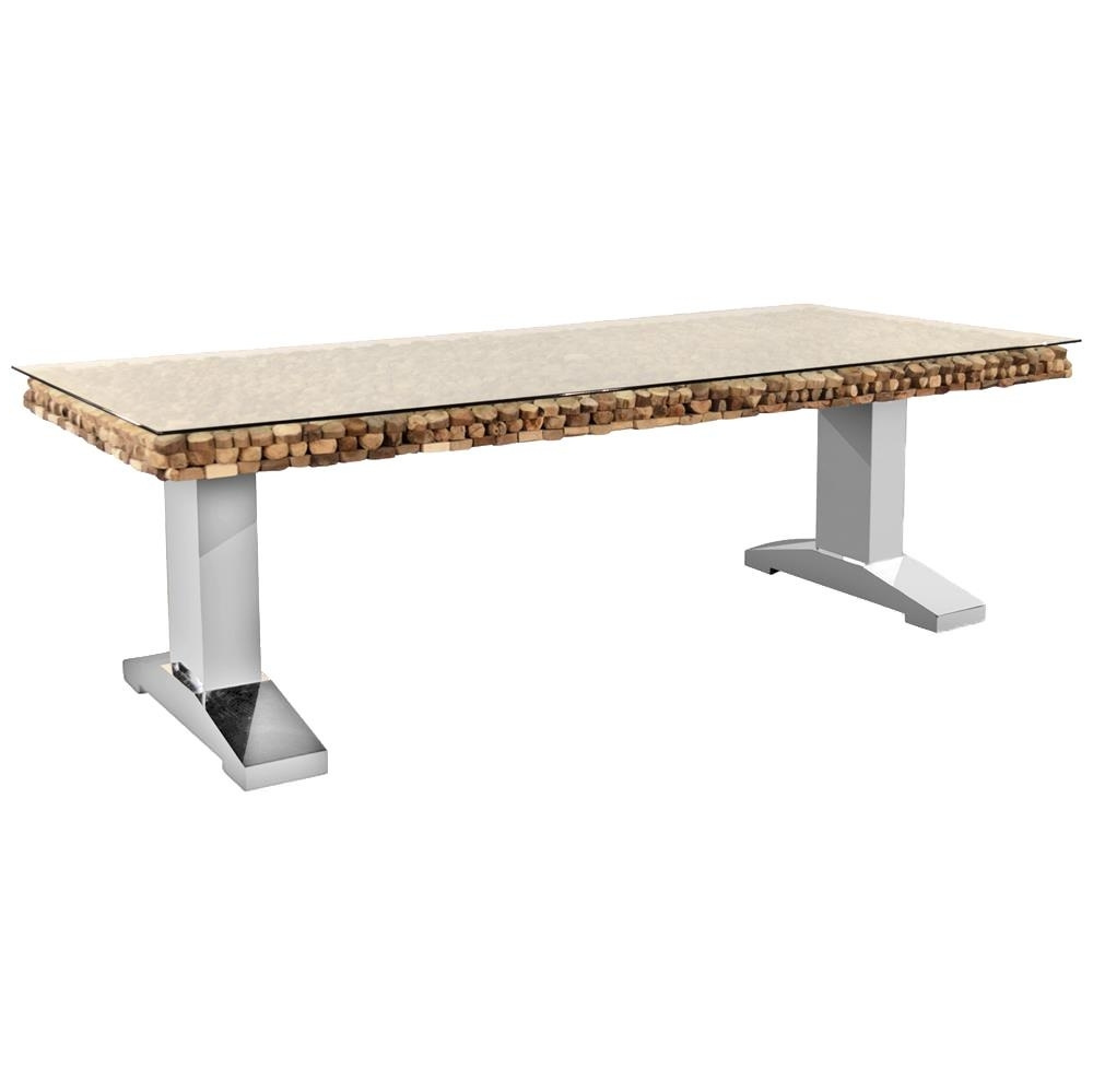 Most Up To Date Bradford Dining Tables For Bradford Rustic Lodge Driftwood Glass Steel Legs Dining Table (View 10 of 25)