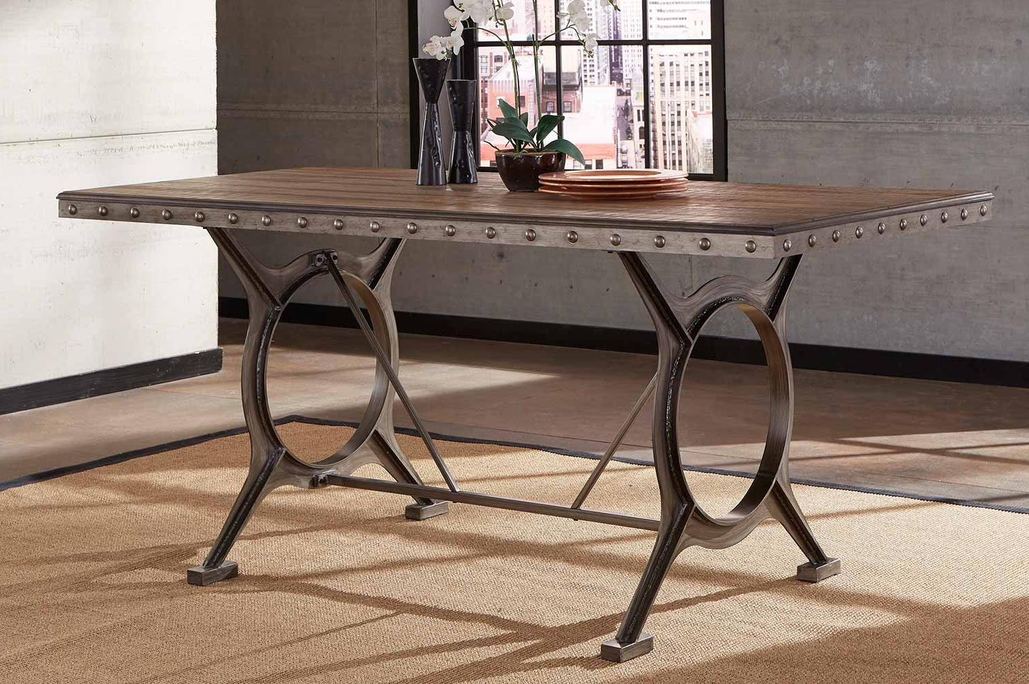 Most Up To Date Brushed Metal Dining Tables With Hillsdale Paddock Counter Height Dining Table – Brushed Steel Metal (View 10 of 25)